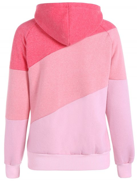 hot Color Block Long Sleeve Pullover Hoodie - RED S Mobile