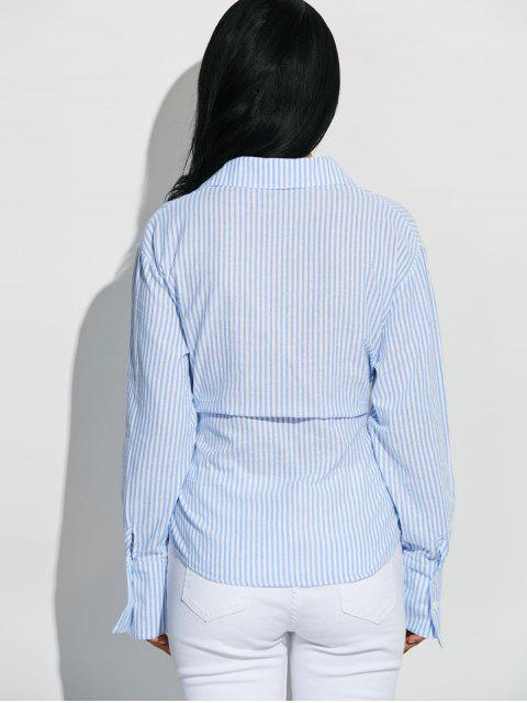 latest Striped Pocket Shirt With Hook and Eye - BLUE AND WHITE M Mobile