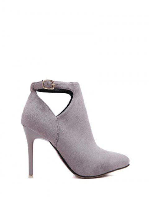 best Hollow Out Flock Stiletto Heel Ankle Boots - LIGHT GRAY 37 Mobile