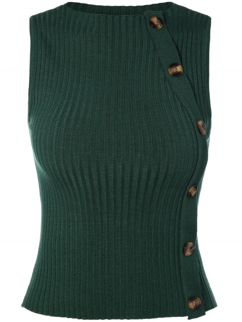 ladies Button Embellished Sweater Vest - GREEN ONE SIZE Mobile