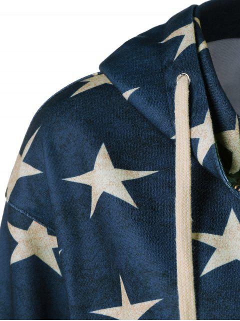 women American Flag Printed Zipper Up Hoodie - BLUE AND RED XL Mobile
