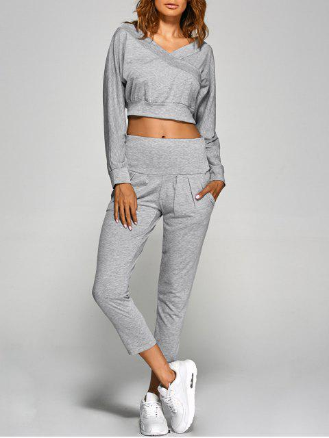 womens V Neck Back Cutout Crop Top With Pants - GRAY M Mobile