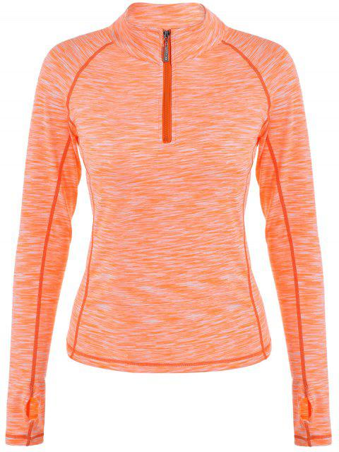Melierter abgesteppt Zipper T-Shirt - orange pink  S Mobile