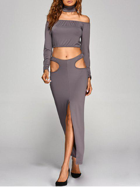 trendy Crop Top With Front Slit Cut Out Skirt - GRAY M Mobile