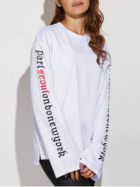 chic Letter Patterned Sweatshirt - WHITE L Mobile