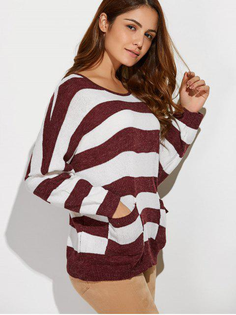 Scoop Neck Striped poches Sweater - Rouge et Blanc TAILLE MOYENNE Mobile