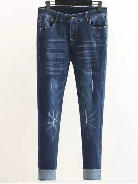 lady Scratch Zip Fly Denim Pants - DENIM BLUE XL Mobile