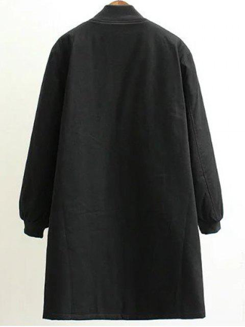 women Stand Neck Letter Embroidered Cotton Linen Coat - BLACK 3XL Mobile