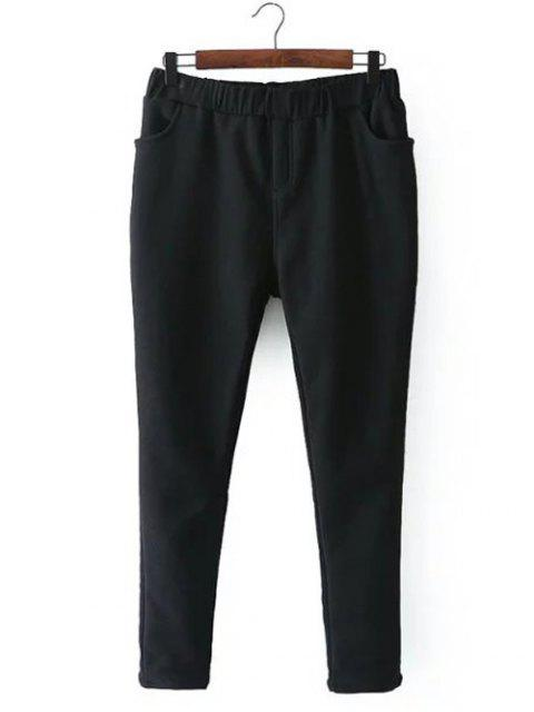 shops Casual Fleece Narrow Feet Pants - BLACK 2XL Mobile