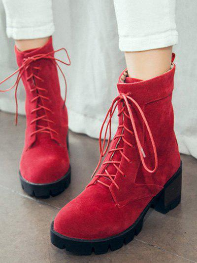 24eb5020abd ... Lace-Up Chunky Heel Combat Boots - Red 38