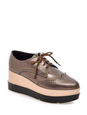 Lace-Up Platform Engraving Wedge Shoes