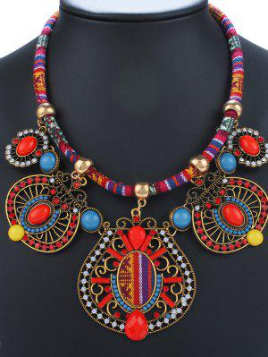 Rhinestone Enamel Geometric Necklace - Red