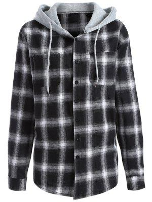 Hooded Checked Shirt - White And Black M