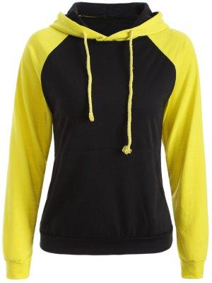Casual Raglan Sleeve Hoodie - Yellow L