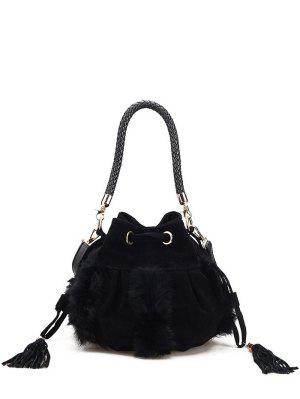 Braid Tassel Furry Bucket Bag