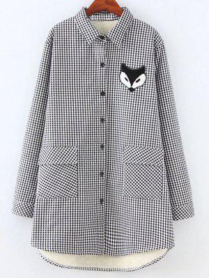Plus Size Fleece Lining Fox Checkered Shirt - Gray Xl