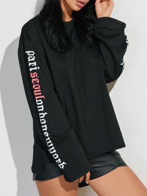 Letter Graphic Sleeve Sweatshirt - Black M