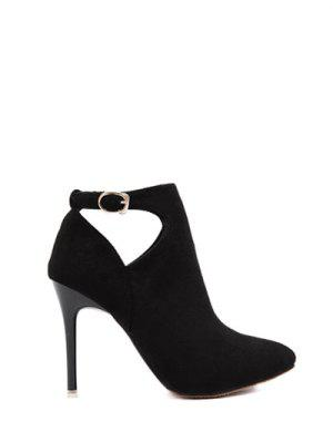 Hollow Out Flock Stiletto Heel Ankle Boots