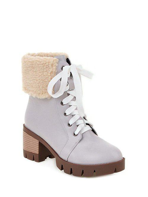 Faux Shearling Chunky Heel Boots 199467611