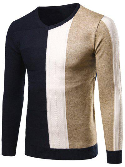 V-Neck Rib Cuff Color Matching Pullover Sweater, Cadetblue