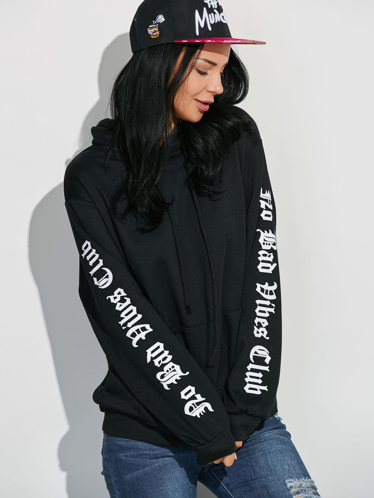 Letter Graphic Sleeve Pullover Hoodie