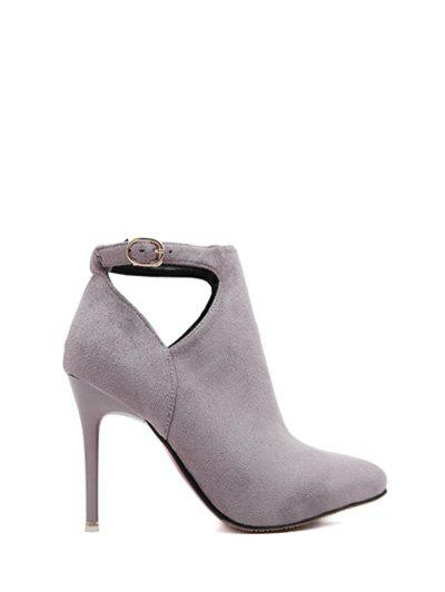 Hollow Out Flock Stiletto Heel Ankle Boots 199563009