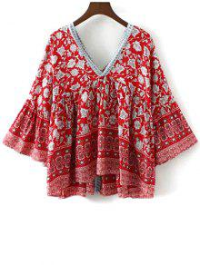 23eb7f9c4ab 34% OFF] 2019 Floral Print Bell Sleeve Boho Top In RED | ZAFUL