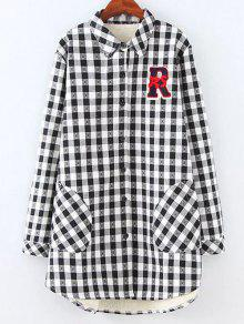 Plus Size Fleece Lining Checked Shirt - White And Black 2xl