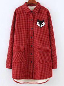 Plus Size Fleece Lining Fox Checkered Shirt - Red 3xl