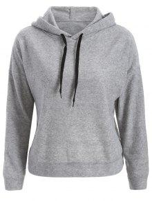 Back Slit Casual Hoodie - Gray M