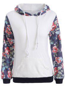Floral Pattern Pocket Hoodie - White M