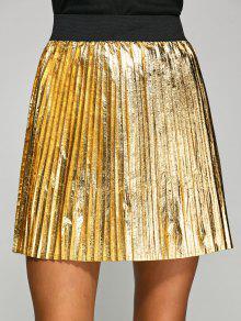 Metálica En Color Plisado Mini Falda - Platino L