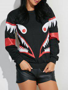 Buy Shark Mouth Print Sweatshirt - BLACK 2XL