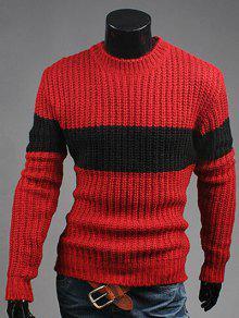 De Cuello Redondo De Color A Juego Del Suéter Acanalado - Vino Rojo L