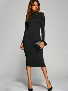 683ce3052838 60% OFF  2019 Long Sleeve See-Through Midi Work Bodycon Dress In ...