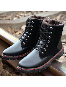 خمر جلد الغزال الربط الدانتيل متابعة الأحذية - أسود 42