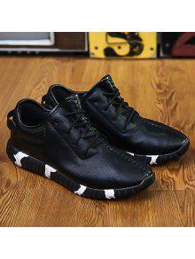 خياطة الدانتيل متابعة محكم بو الجلود أحذية رياضية - أسود 40