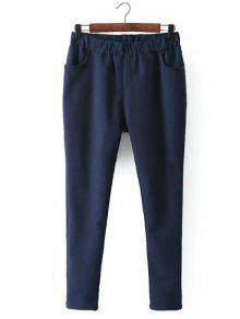 Casual Fleece Narrow Feet Pants - Purplish Blue 4xl