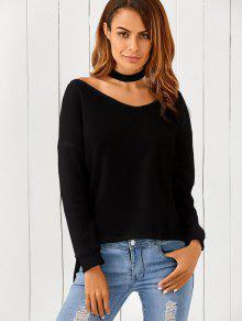 Loose One-Shoulder Sweater - Black M