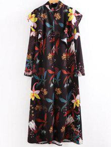 High Neck Printed Ruffled Maxi Dress - M