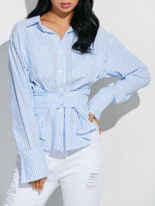 Striped Pocket Shirt With Hook And Eye - Blue And White L