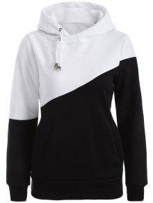 Casual Color Block Hoodie - White And Black S