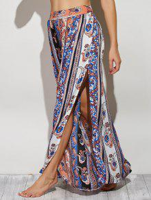 Paisley Pattern High Slit Maxi Skirt - Xl