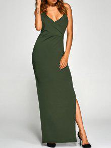 Backless High Split Surplice Maxi Club Dress - Army Green M