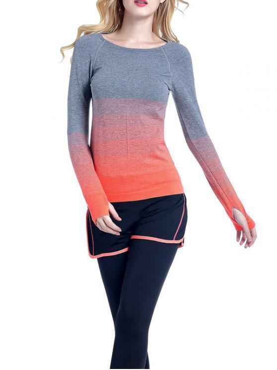 outfit Ombre Yoga Gym T-Shirt - ORANGE L