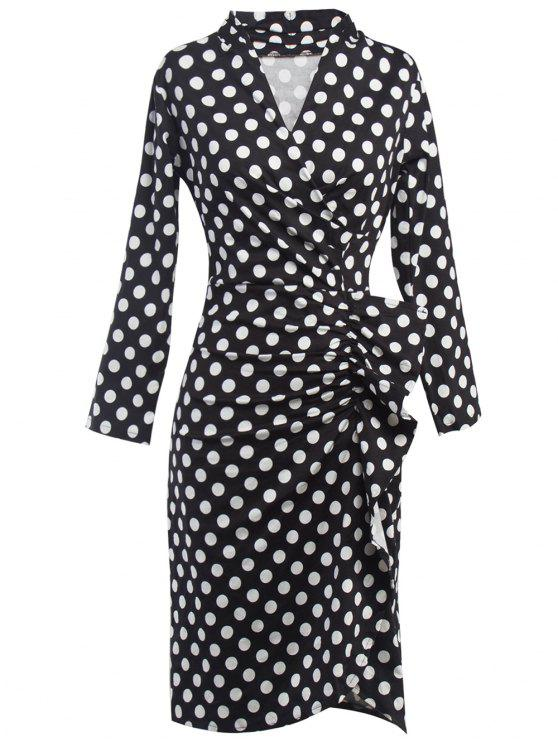 trendy Polka Dot Ruched Surplice Dress - BLACK XL