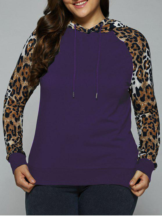 shops Plus Size Leopard Trim Raglan Sleeves Hoodie - DEEP PURPLE XL