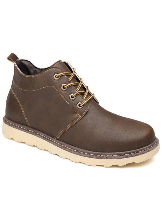 العيينة بو الجلود الدانتيل متابعة الأحذية قصيرة - BROWN 41