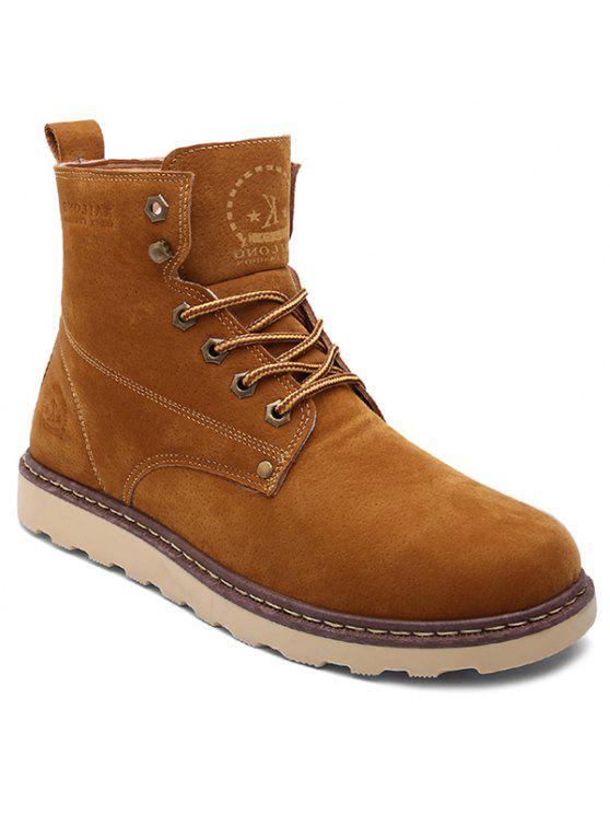 العيينة الدانتيل متابعة جلد الغزال الأحذية قصيرة - BROWN 44