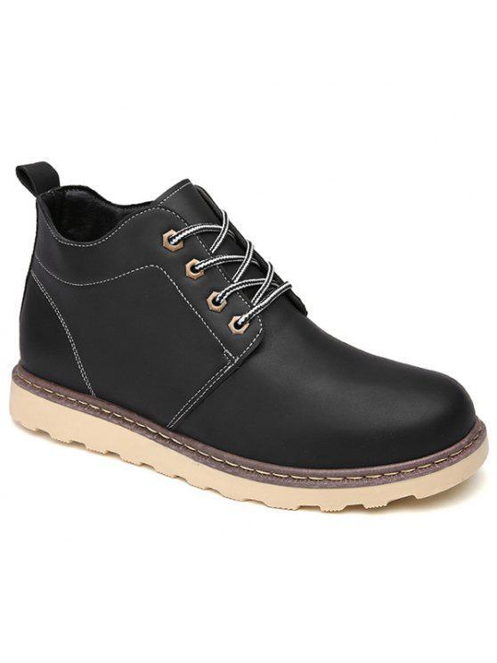 العيينة بو الجلود الدانتيل متابعة الأحذية قصيرة - أسود 43